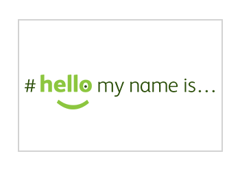 'Hello my name is...' logo